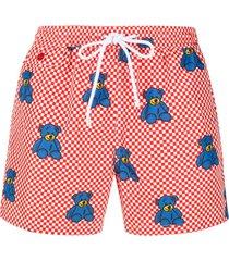kiton short de natação xadrez com estampa de ursos - vermelho