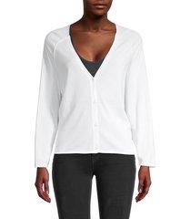 raffi women's heart cotton cardigan - white - size l