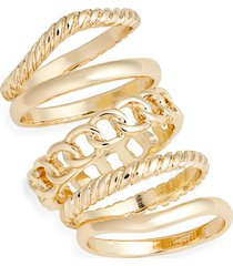 women's halogen set of 5 frozen chain stackable rings