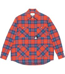 gucci x disney checked zip-up shirt - red