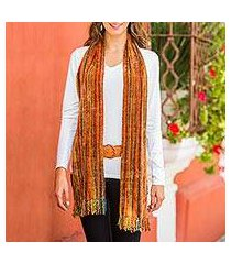 rayon chenille scarf, 'heart of the land' (guatemala)