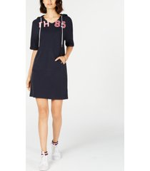 tommy hilfiger hooded sweatshirt dress, created for macy's