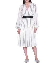 women's akris stripe long sleeve silk crepe midi dress