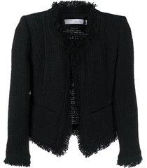 iro frayed tweed jacket - black