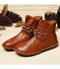 vintage stivaletti alla caviglia in pelle vera comoda a manufatto