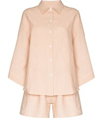 deiji studios button-up two-piece pajama set - pink