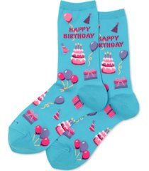 hot sox women's happy birthday fashion crew socks