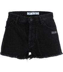 black logo denim shorts