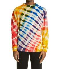 men's the elder statesman illusion tie dye cashmere sweater, size x-large - orange