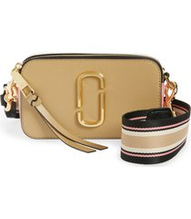 marc jacobs the snapshot leather crossbody bag - beige