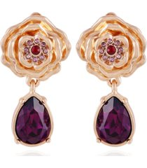 t tahari women's fashionable florals clip on drop earring