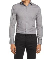 men's big & tall nordstrom trim fit non-iron flexweave dress shirt, size 18.5 - grey