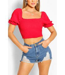linen shirred puff sleeve top, red