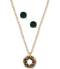 charter club gold-tone crystal wreath pendant necklace & stud earrings set, created for macy's