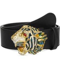 women's gucci crystal tiger head leather belt, size 95 - nero/ multi