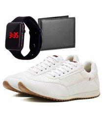 sapatênis casual com carteira e relógio led dubuy 1100la branco