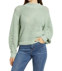 women's bp. traveling stitch sweater, size large - green