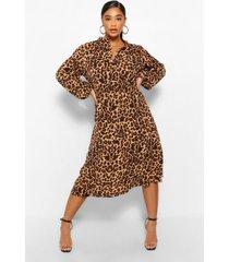 plus luipaardprint midi jurk met ceintuur, bruin