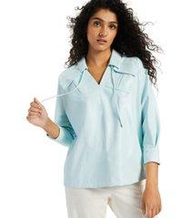 alfani petite drawstring-neck pocket top, created for macy's