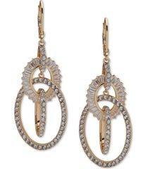 anne klein gold-tone crystal orbital drop earrings