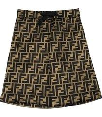 fendi tobacco brown and black shorts