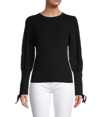 design 365 women's lace-sleeve knit top - tan - size l