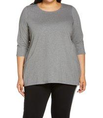 plus size women's eileen fisher organic cotton blend crewneck tunic top, size 2x - grey
