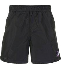 raf simons record label logo embroidered swim shorts - black