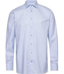 blue woven checks shirt overhemd business blauw eton