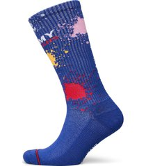 th unisex tommy jeans sock 1p splas lingerie socks regular socks blå tommy hilfiger