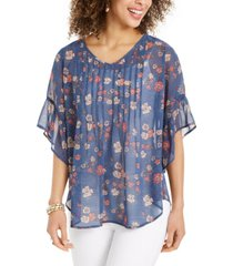 style & co sheer pintuck floral-print blouse, created for macy's