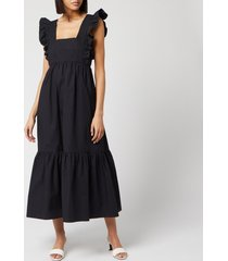self-portrait women's black cotton poplin midi dress - black - uk 14