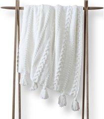 sunday citizen braided pom pom throw blanket in off white at nordstrom