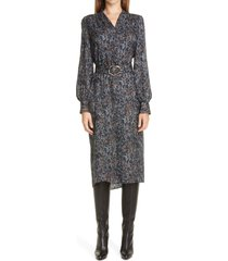 women's lafayette 148 new york clementine belted long sleeve silk midi dress, size x-small - blue