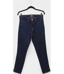calça jeans plus size biotipo skinny alice botão barra cintura média feminina