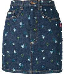 the marc jacobs pearl-embellished denim skirt - blue