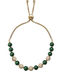 charter club gold-tone pave fireball & imitation pearl slider bracelet, created for macy's