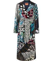 missoni belted patchwork design coat - blue