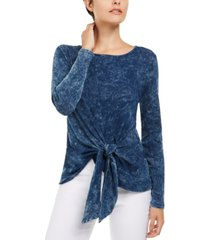 inc denim wash tie-front top, created for macy's
