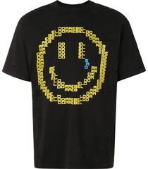domrebel destroyed sad emoticon t-shirt - black