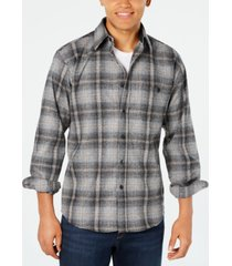 pendleton men's trail plaid wool shirt with suede elbow patches