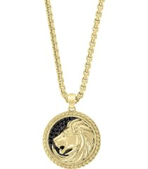 """effy men's black sapphire lion 22"""" pendant necklace (1/4 ct. t.w.) in 18k gold-plated sterling silver"""