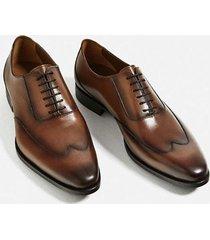 handmade men wingtip formal shoes, men brown lace up dress shoes, mens shoes