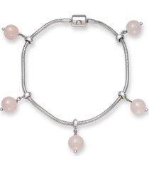 """adjustable rose quartz 8mm charm 7.5"""" bracelet in sterling silver"""