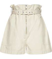 isabel marant étoile parana cotton and linen belted shorts