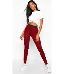 basic leggings met contrasterende taille band, berry
