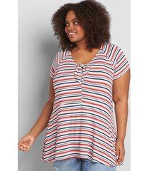lane bryant women's cap-sleeve tie-front babydoll top multi stripe