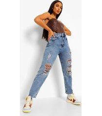mom jeans met bandana patches, middenblauw