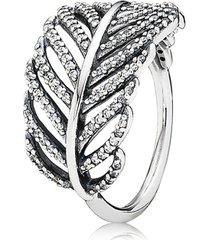 anel de prata plumas