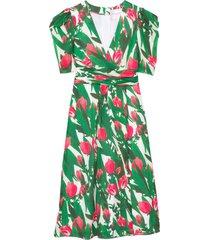 puff sleeve v-neck dress with draping in azalea multi